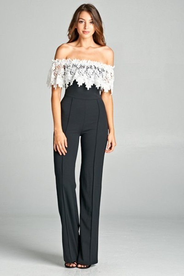 Gone Forever Jumpsuit (Black/White)