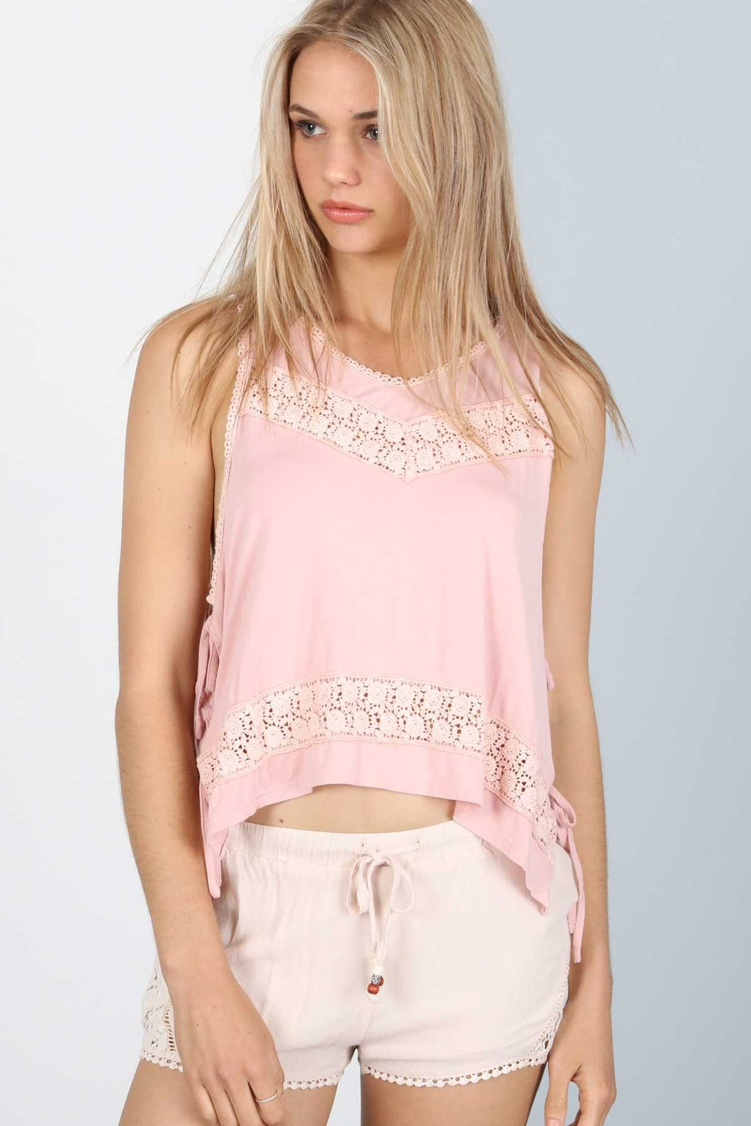 Pink Lace Trimmed Top