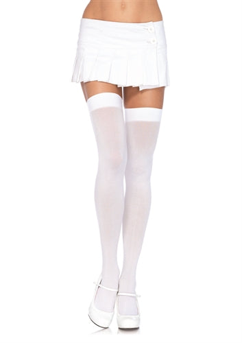 Opaque Thigh Highs - One Size - White LA-6672WHT