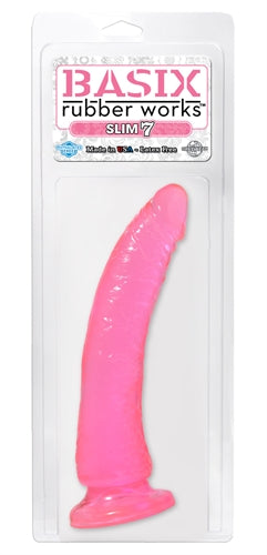Basix Rubber Works - Slim 7 Inch With Suction Cup - Pink - My sheree and More