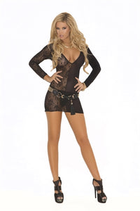 Deep v Lace Long Sleeve Mini Dress  - One Size - Black EM-1571