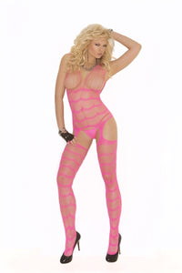 Vertical Striped Suspender Bodystocking - Neon Pink EM-1557