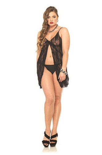 Romantic Lace Babydoll and G-String - Queen Size - Black LA-8782QBLK
