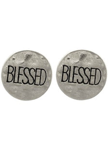 Blessed Metal disc studded earrings