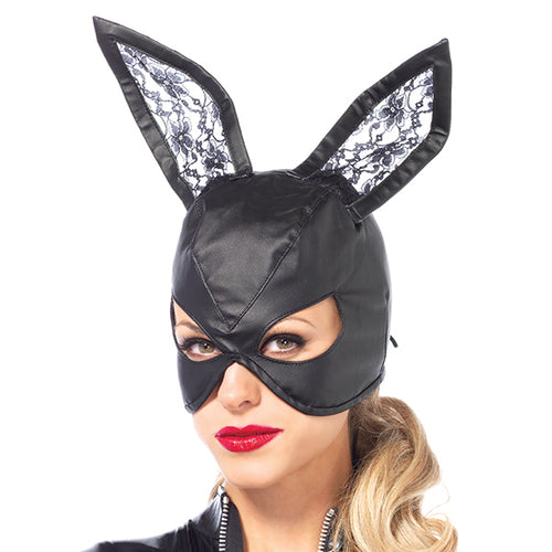Halloween Faux Leather Bunny Mask With Lace Ears - Black - My sheree and More