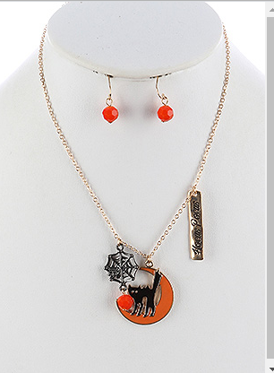 HALLOWEEN CAT CHARM NECKLACE AND EARRING SET - My sheree and More