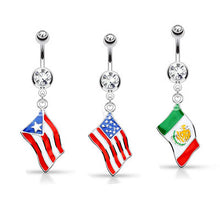 Load image into Gallery viewer, National Flag Surgical Steel Belly Button Rings - My sheree and More
