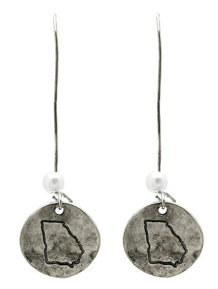 AGED FINISH METAL GEORGIA ETCHED DISC EARRING - My sheree and More
