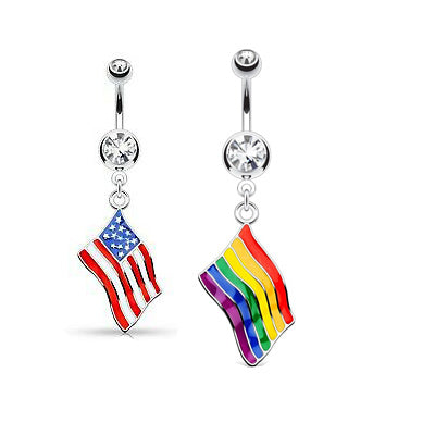 Flag Dangle Double Jeweled Steel Belly Button Rings - My sheree and More