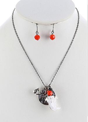 HOLLOWEEN GHOST CHARM NECKLACE AND EARRING SET - My sheree and More