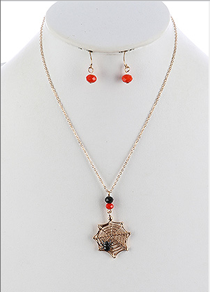 HALLOWEEN GOLD WEB CHARM NECKLACE AND EARRING SET - My sheree and More