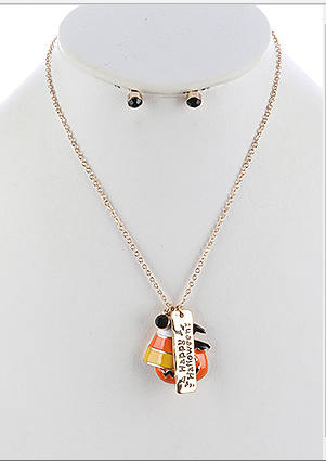 HAPPY HALLOWEEN CHARM NECKLACE AND EARRING SET - My sheree and More