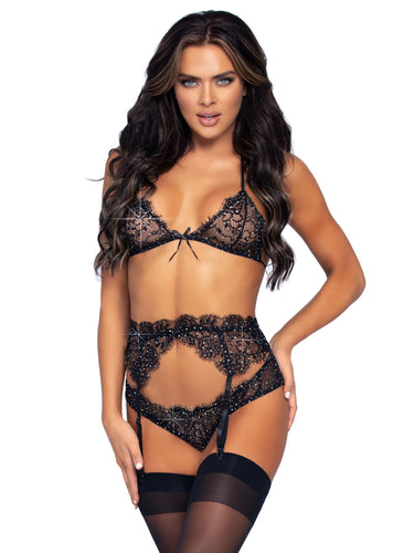 3 Pc Rhinestone Lace Bra Top Panty and Garter Belt Set - Large - Black LA-81621BLKL