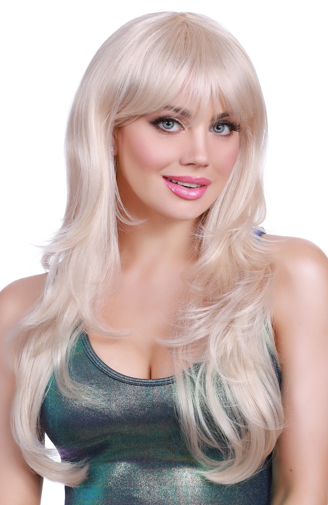 Dreamgirl Long Peachy Blonde Fringe Wig - My sheree and More