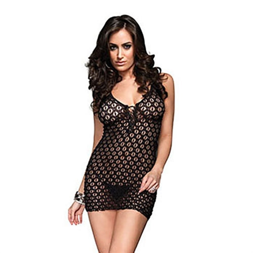 Lace Mini Dress and G-String - One Size - Black LA-8316BLK
