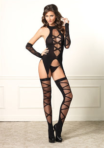 Lace Up Cami Garter Stockings and Gloves - One Size - Black LA-89128