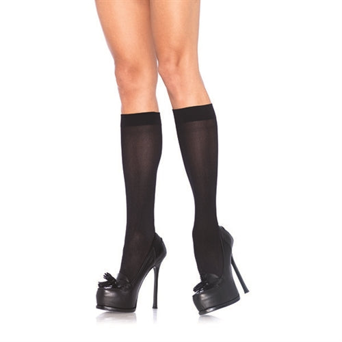 Nylon Opaque Knee Highs - One Size - Black LA-5572BLK