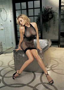 Honey Comb Fishnet Dress - One Size  - Black HOT-90035BLK