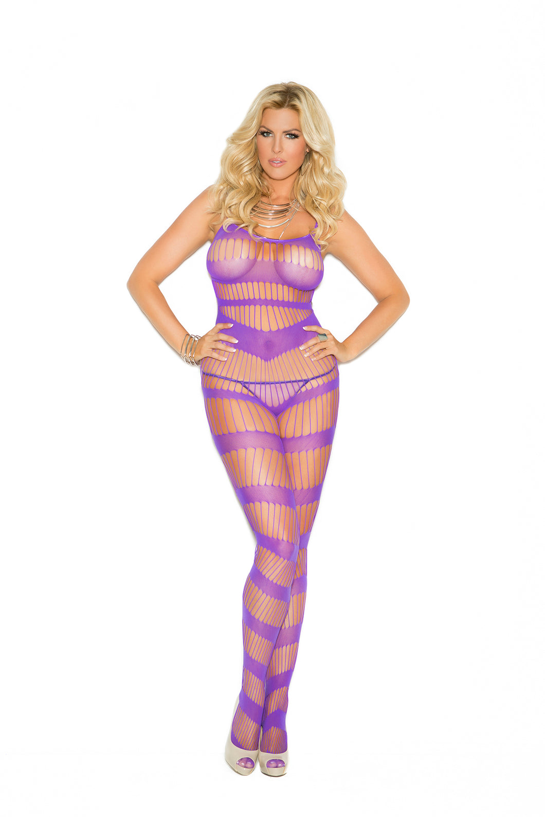 Strappy Body Stocking - Queen Size - Purple EM-1658Q