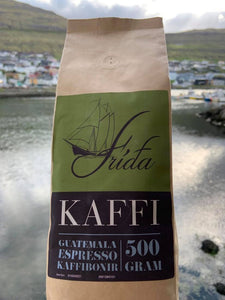 Espresso coffeebeans from Guatemala, 500g. Roasted on request from Café Fríða