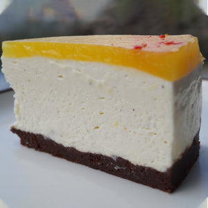 Cheesecake with mango gelee and white chocolate mousse