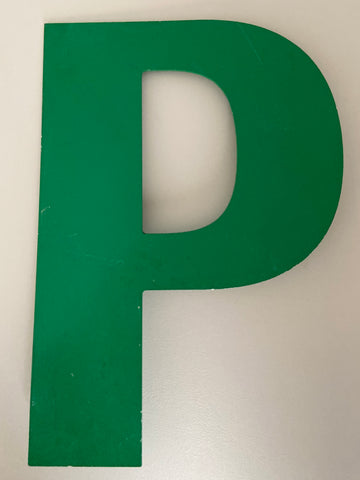 Medium vintage metal green letter P or D