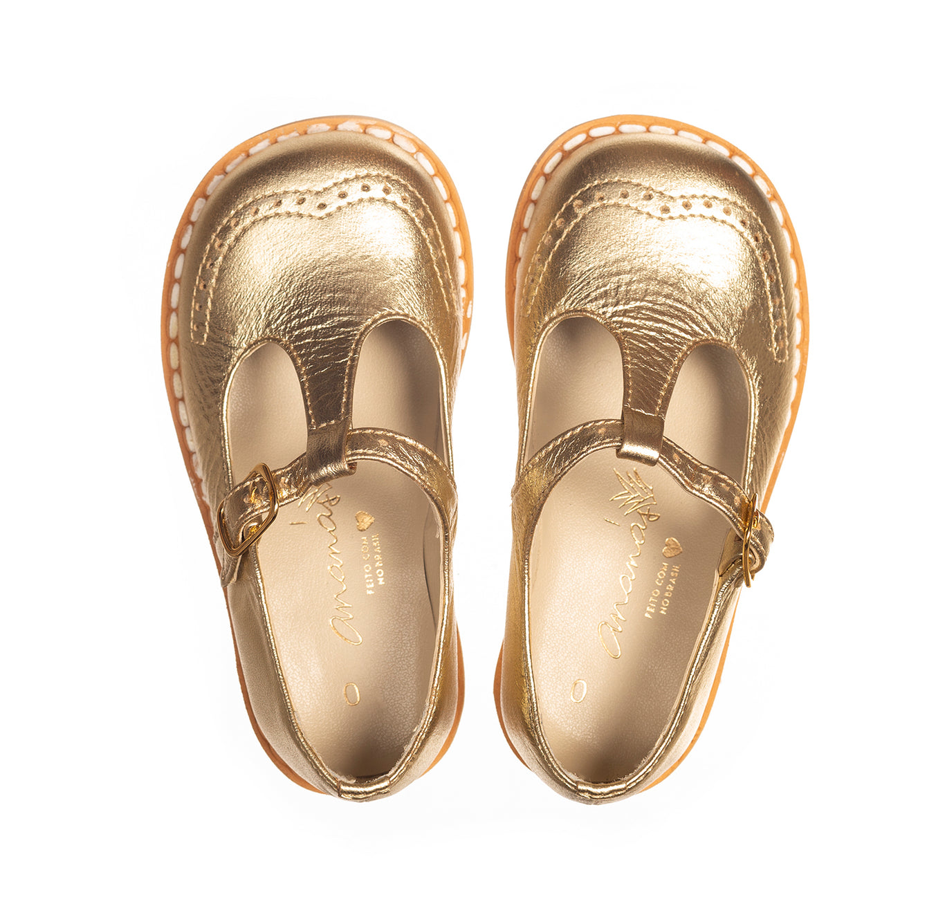 Gold T-Bar Ananás Kids Shoes