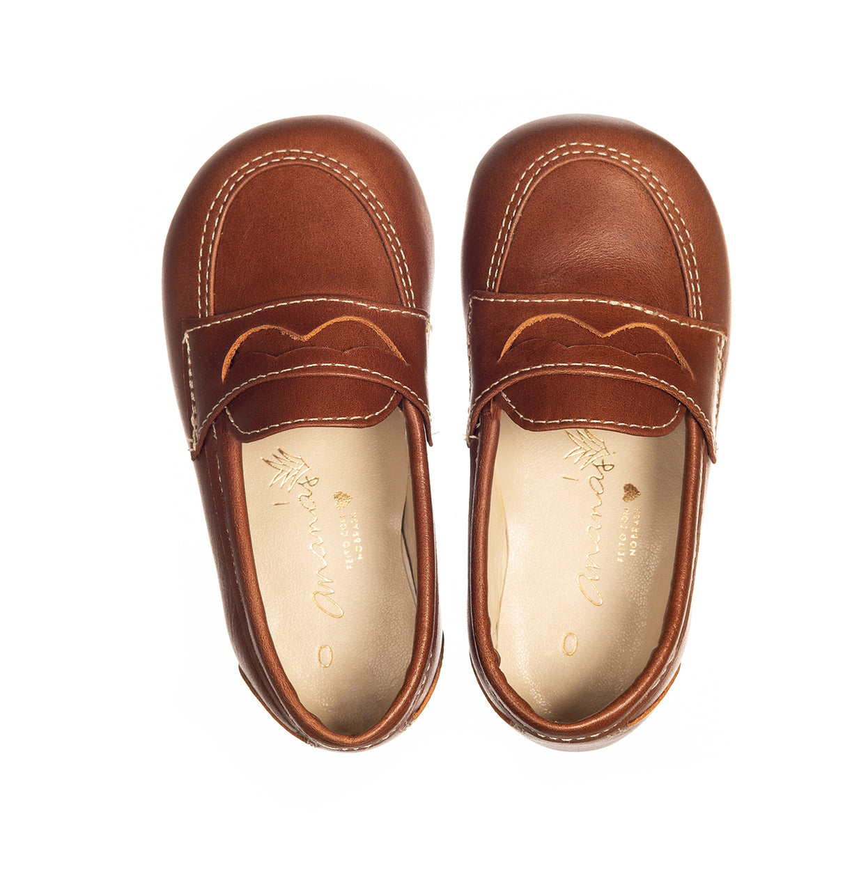Boys Brown Leather Moustache Moccasins