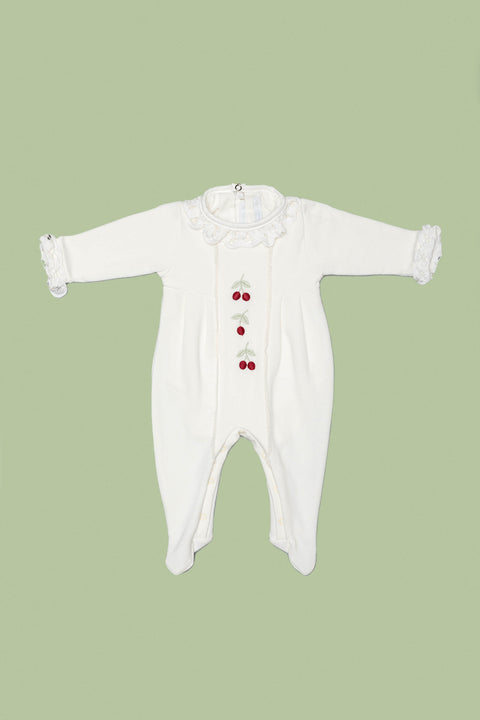 White Babygrow Cherry Set for Girls