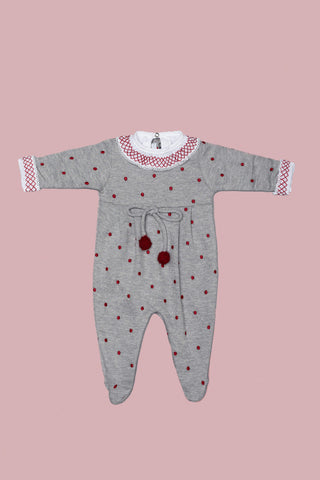 Grey and Cherry Babygrow Set for Girls