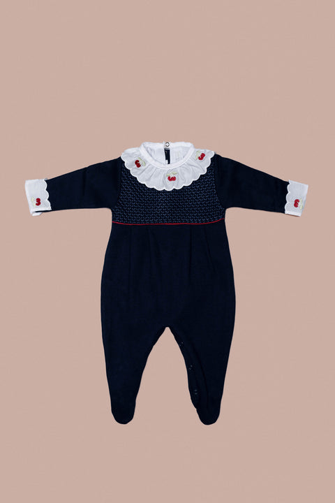 Navy Blue Cherry Babygrow Set for Girls