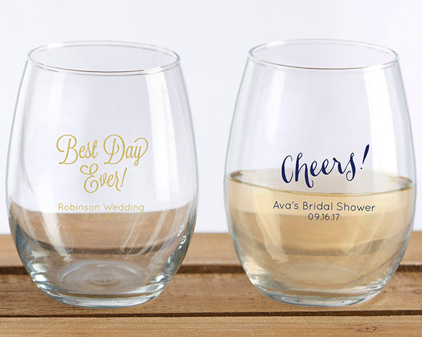Personalized 9 OZ. Stemless Wine Glass- Wedding