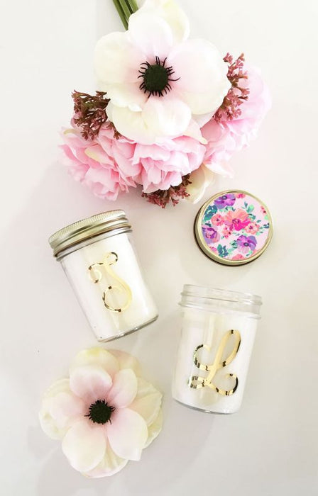 Monogram Mason Jar Candle with Floral Lid