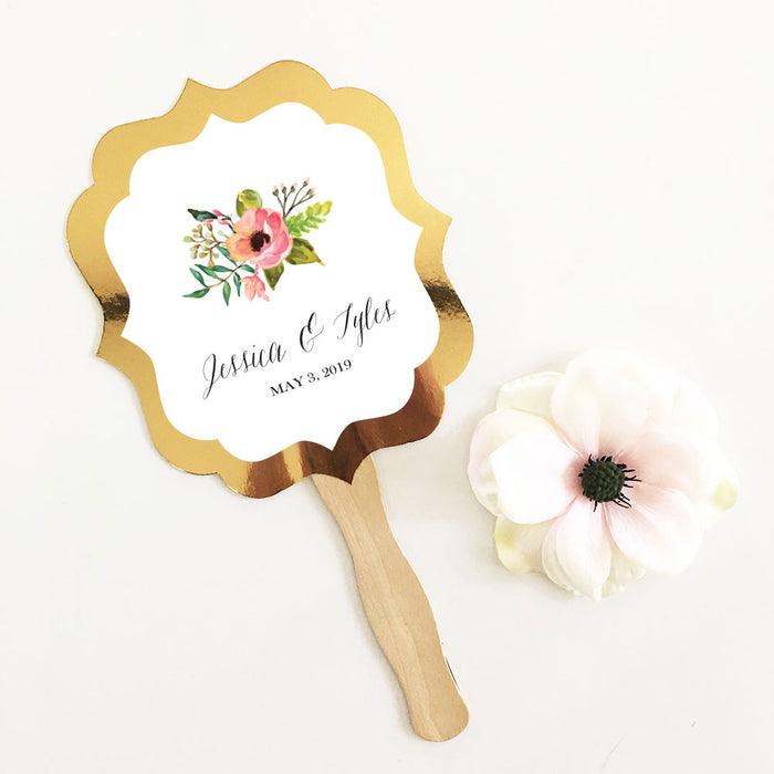Golden Paddle Fan- Floral Garden Theme (Set of 24)