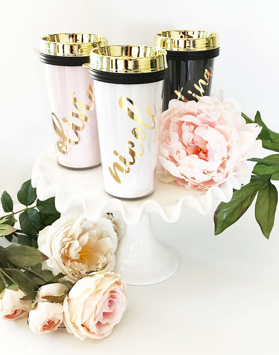 Personalized Travel Tumblers with Gold Lid