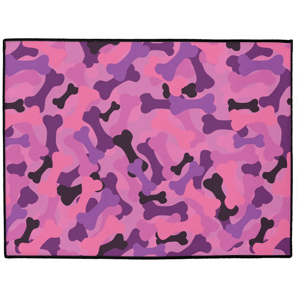 Bone Camo Pink Dog Mat