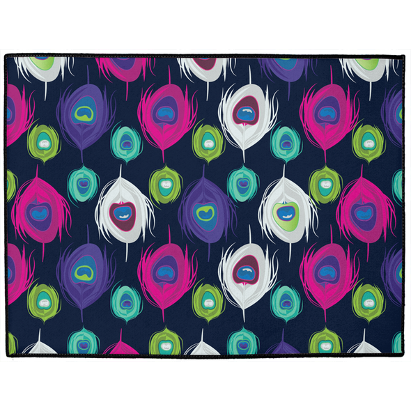 Peacock Splash Dog Mat