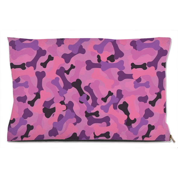 Bone Camo Pink Dog Bed