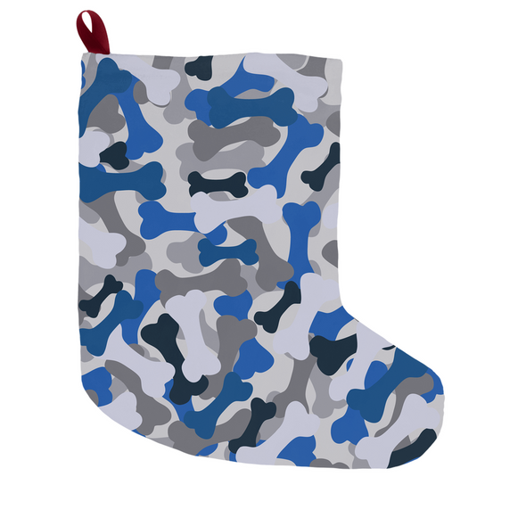 Bone Camo Blue Christmas Stocking