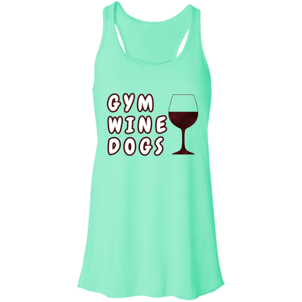 Flowy Racerback Tank Gym, Wine, Dogs