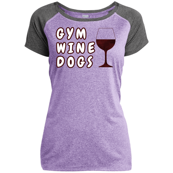 Ladies Performance T-Shirt Gym, Wine, Dogs