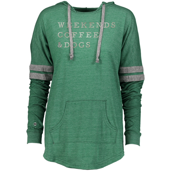 Ladies Hooded Pullover Weekends, Coffee, Dogs