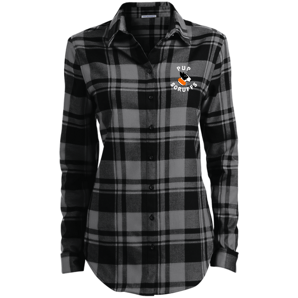 Ladies' Plaid Flannel Tunic Pup Scruffs Logo