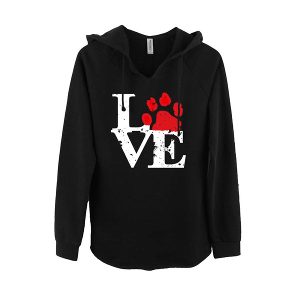 Ladies V neck hoodie Love Paw