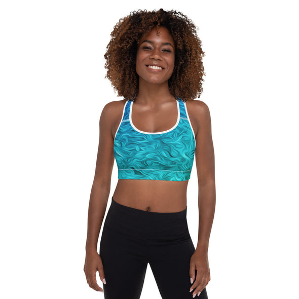 Blue Wave Padded Sports Bra