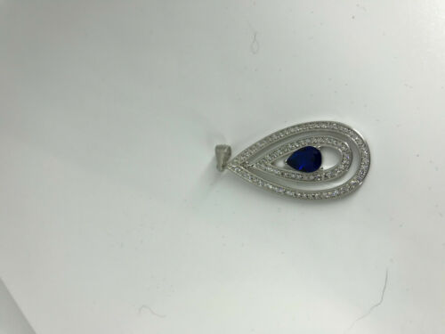 Natural Sapphire Gemstone Sterling Silver Teardrop Pendant
