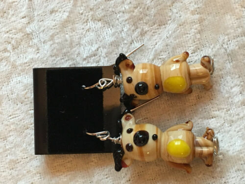 Cute Christmas Reindeer Lampworked Glass Dangle Earrings
