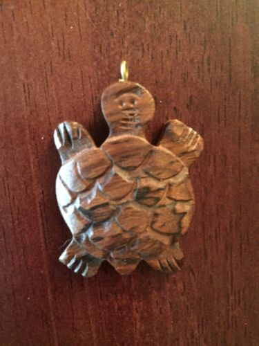 Natural Indian Rosewood Carved Turtle Pendant with Brass Accents