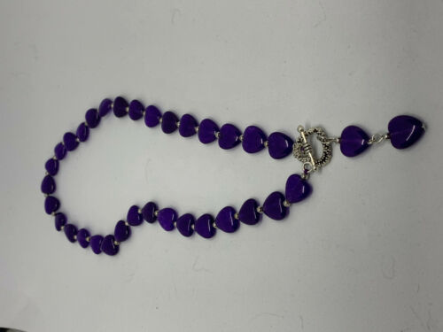 Natural Amethyst Gemstone hearts Beaded Necklace