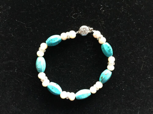 Natural Turquoise and Pearl Gemstone Beaded Bracelet